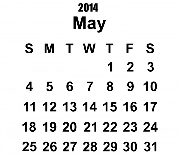 Calendar may 28 clipart svg Black and white may calendar clipart - ClipartFest svg