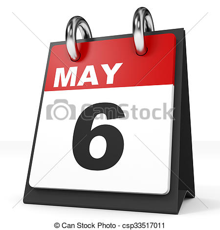 Clipart of Calendar on white background. 6 May. 3D illustration ... svg royalty free download