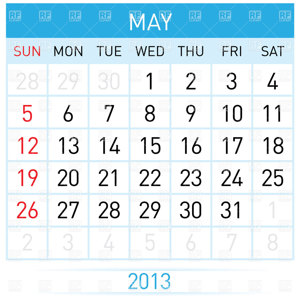 May 2013 month calendar Vector Image #7017 – RFclipart clip library library