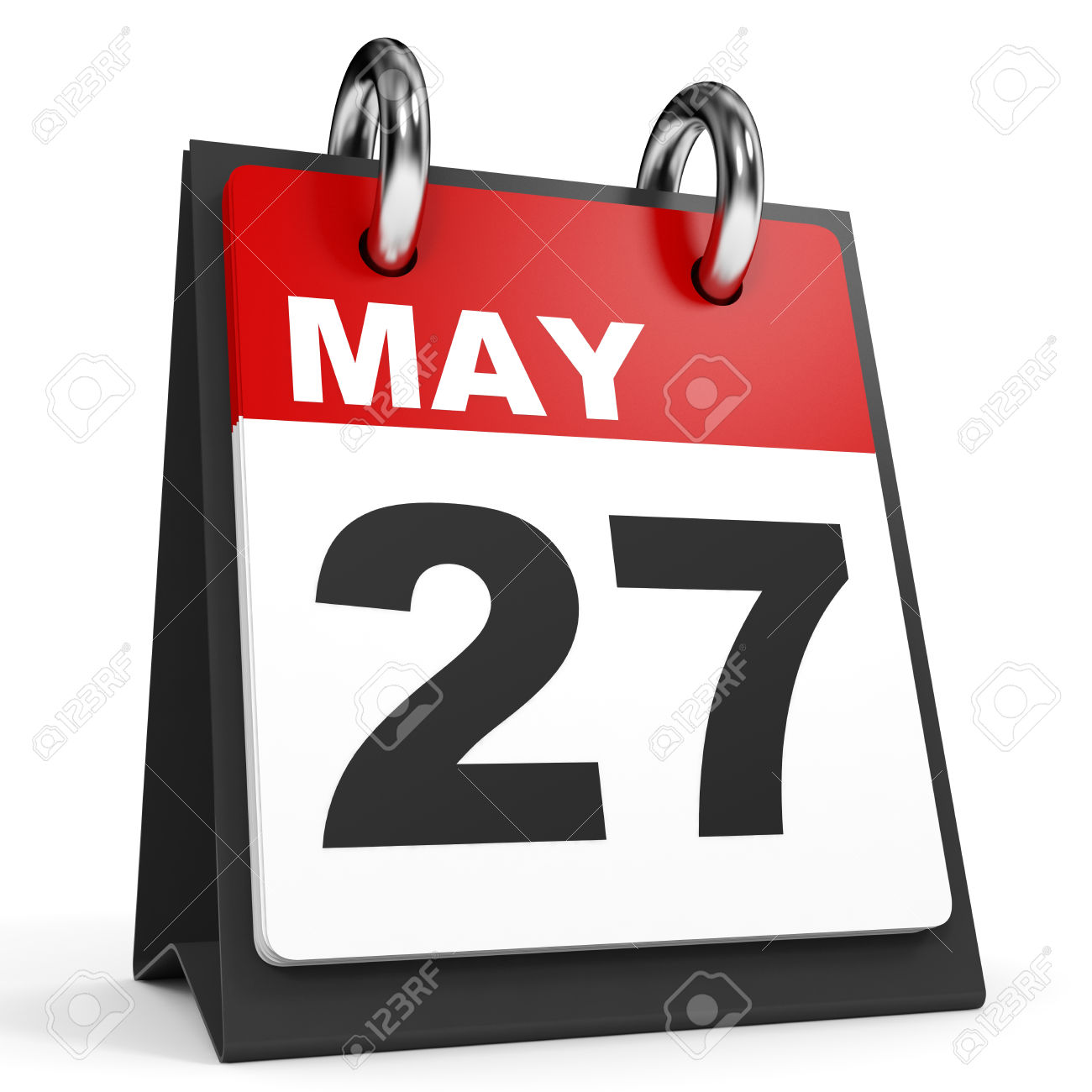 May 27. Calendar On White Background. 3D Illustration. Stock Photo ... banner black and white library