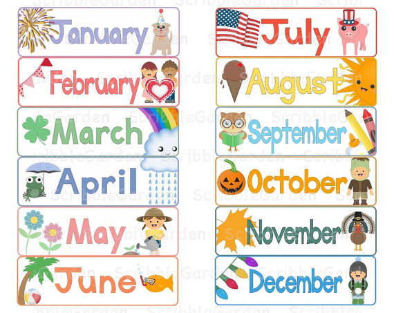Months kid toppers. Calendar month clipart
