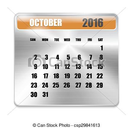 Calendar october 2016 clipart clip art download Vector Clip Art of Monthly calendar for October 2016 on metallic ... clip art download