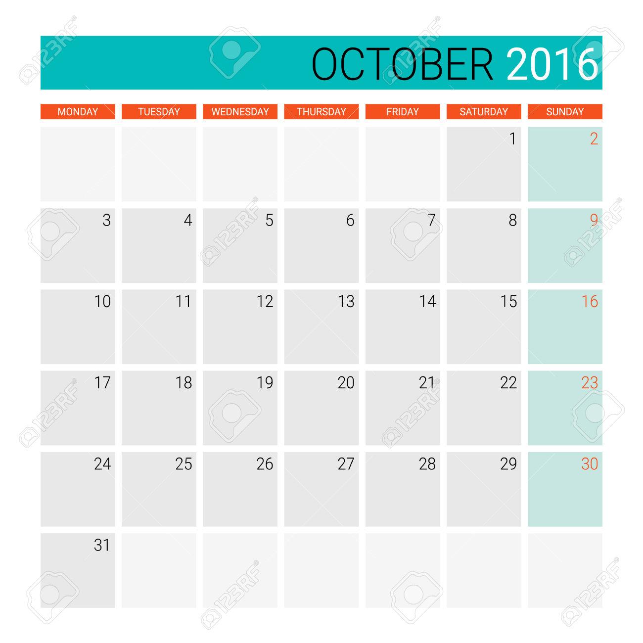 Calendar october 2016 clipart svg transparent library Planner calendar clipart - ClipartFest svg transparent library