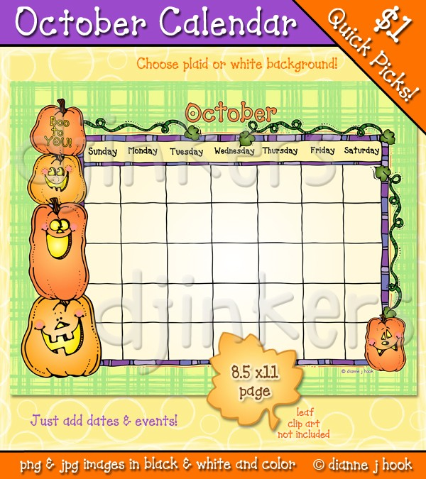 Calendar october clipart graphic freeuse library October calendar with clip art by DJ Inkers - DJ Inkers graphic freeuse library