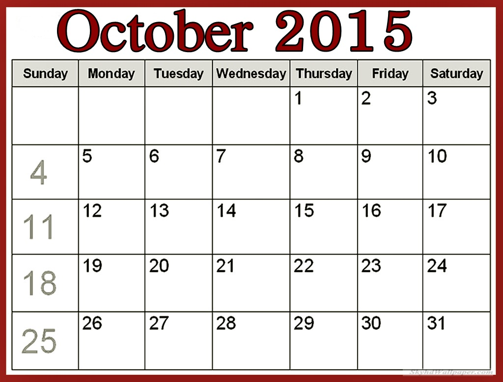 Calendar october clipart picture black and white stock October 2015 calendar clipart - ClipartFest picture black and white stock