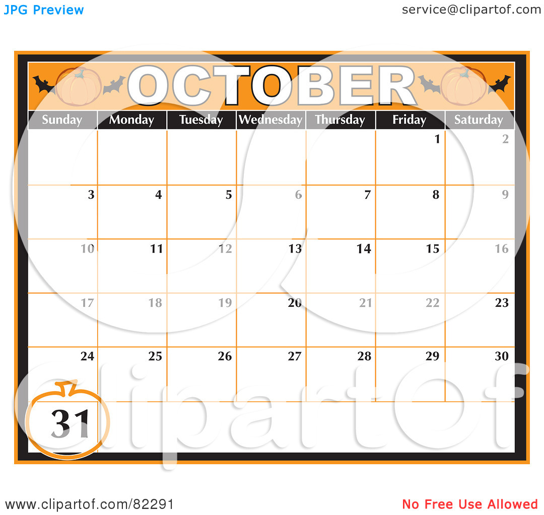 Calendar october clipart svg freeuse stock Royalty-Free (RF) Clipart Illustration of an Orange October ... svg freeuse stock