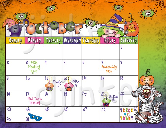 Calendar october clipart clip download Whimsical October clip art and borders for Halloween by DJ Inkers ... clip download