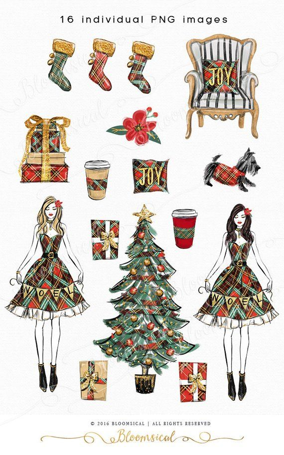Calendar with holiday clipart clipart transparent library Noel Christmas Clip Art | Illustration Cozy Holiday Tree Gifts ... clipart transparent library