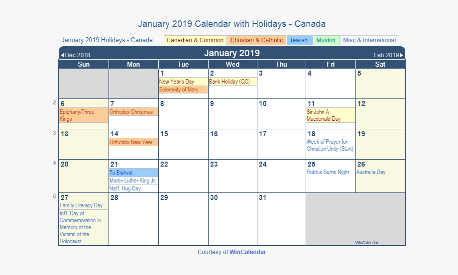 Calendar with holiday clipart clipart free download January 2019 Calendar With Holidays Canada - June Holiday Calendar ... clipart free download