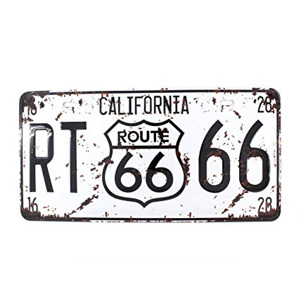 California license plate clipart jpg freeuse download 6x12 Inches Vintage Feel Metal Tin Sign Plaque for Home,bathroom and Bar  Wall Decor Car Vehicle License Plate Souvenir (CALIFORNIA ROUTE 66) jpg freeuse download