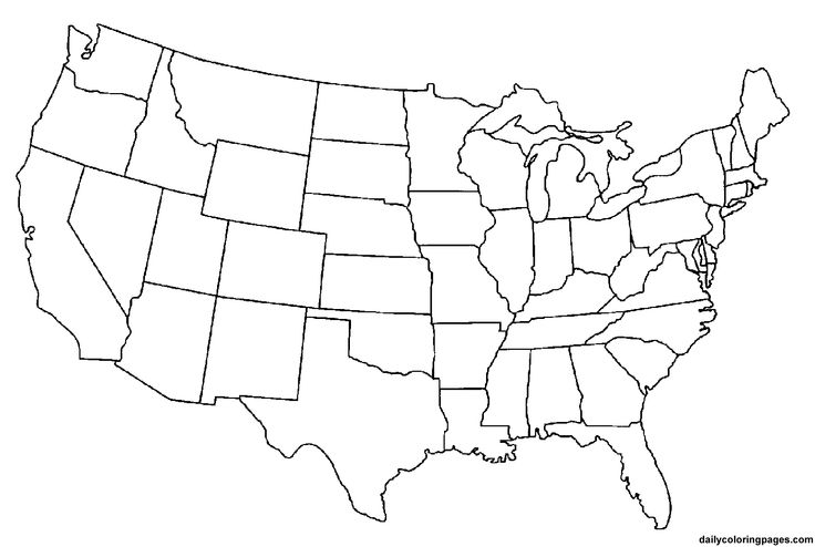 California on a us map clipart. State coloring page printable
