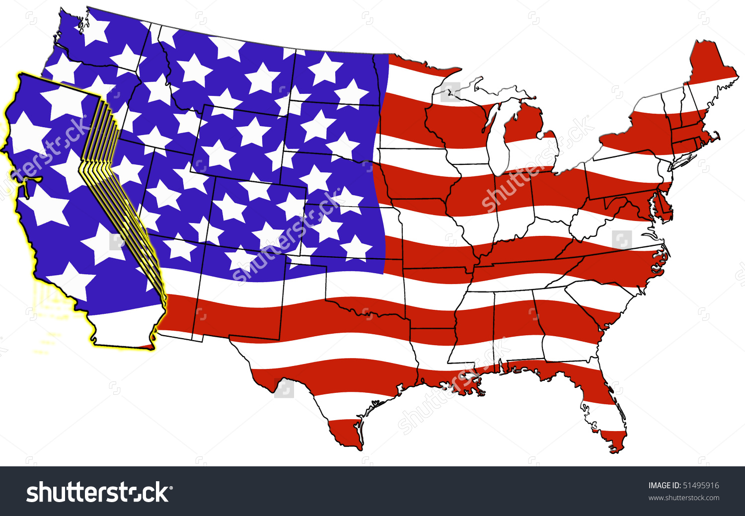 California on a us map clipart. Usa highlighted flag color