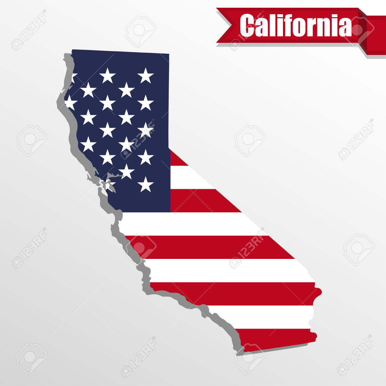 State with flag inside. California on a us map clipart