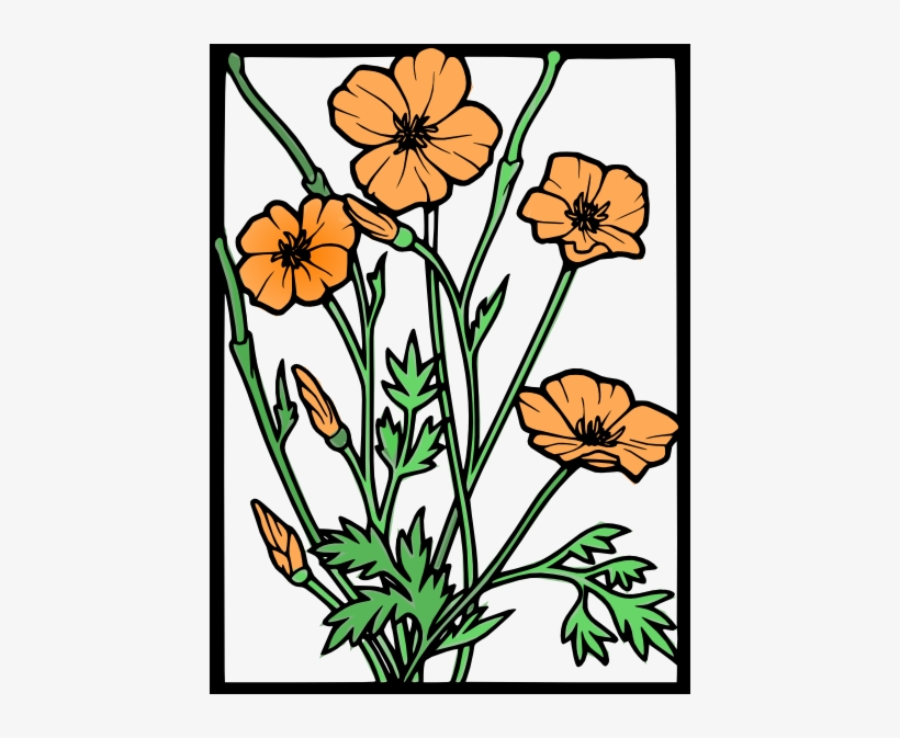 Library of california poppy vector black and white png ...