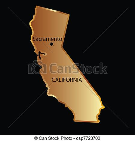 California state map clipart jpg library Vector Clipart of Gold california state map - Gold california map ... jpg library