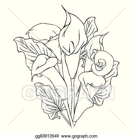 Calla lily bouquet black and white clipart vector black and white download Vector Art - Calla lily flowers. EPS clipart gg83913549 - GoGraph vector black and white download