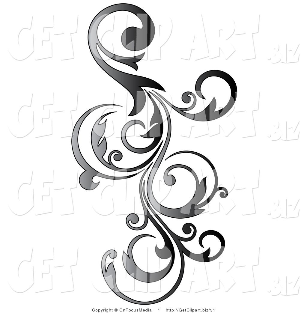 Calligraphy scroll clipart vertical image library library Clip Art Of A Gradient Gray Vertical Curly Vine Scroll Design By ... image library library