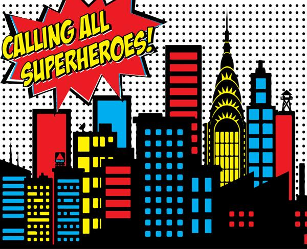 Calling all superheroes clipart vector library download Calling All Superheroes Backdrop | Spiderman birthday party Daniel ... vector library download