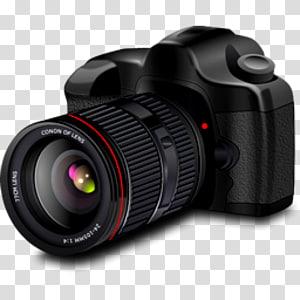 Camera digital clipart graphic free Black Nikon DSLR camera with flash, Digital SLR Flash Camera ... graphic free