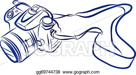 Camera vector clipart free jpg black and white download Vector Art - Free hand sketch of dslr camera vector. EPS clipart ... jpg black and white download
