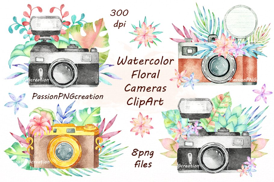 Cameras clipart clip art free download Watercolor Floral Cameras Clipart clip art free download
