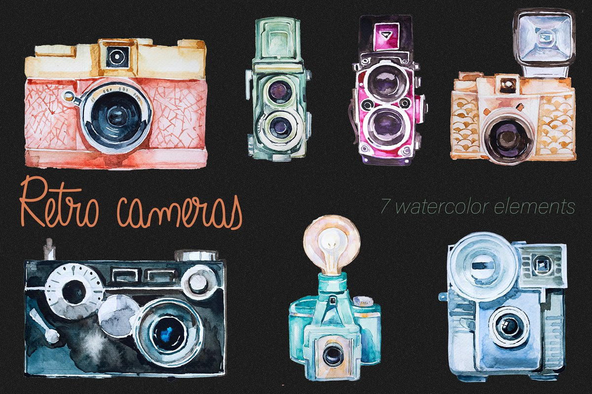 Cameras clipart royalty free library Watercolor Retro Cameras Clipart Set royalty free library