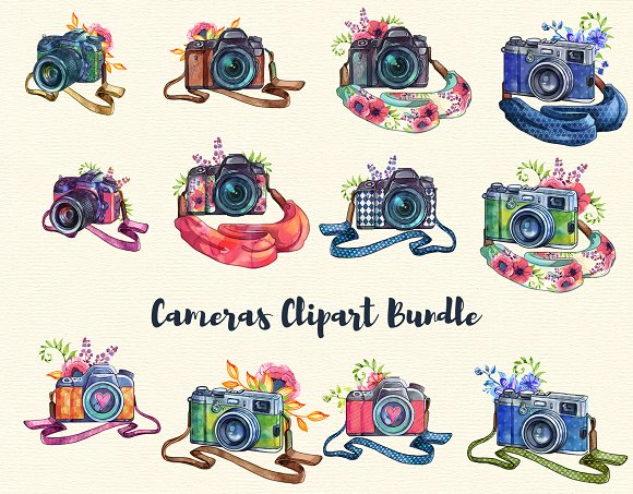 Cameras clipart jpg black and white library Cameras clipart Set - 31 elements jpg black and white library