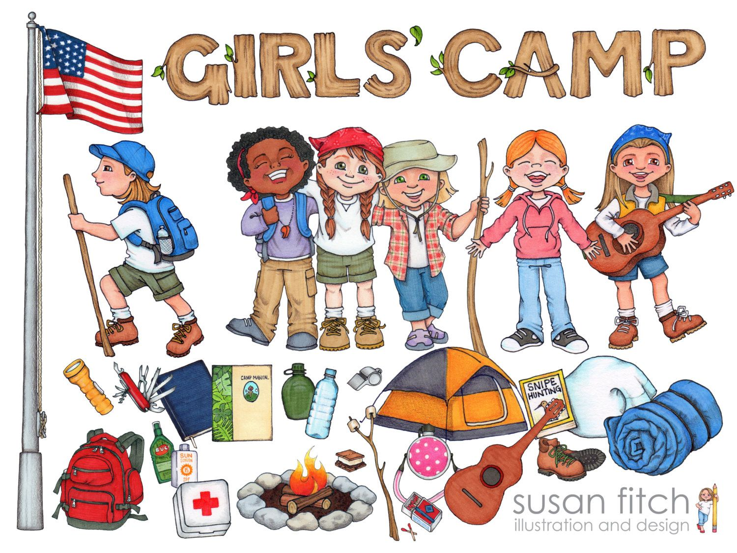 Camp flag clipart clip art black and white Pin by Betsey Rhames on camp | Girls camp, Girl scout camping, Girl ... clip art black and white