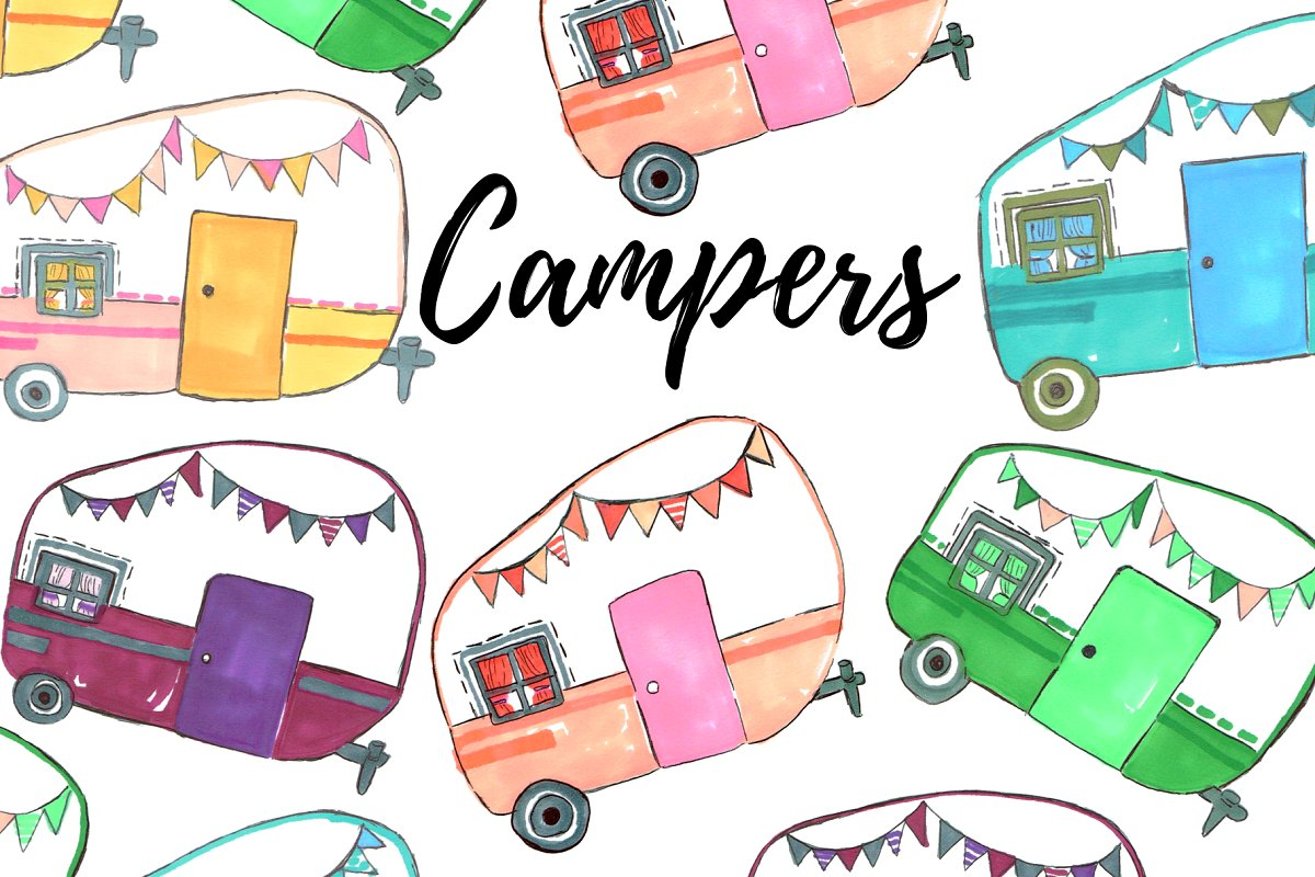 Camper clipart images banner library library Watercolor Camper Clipart banner library library