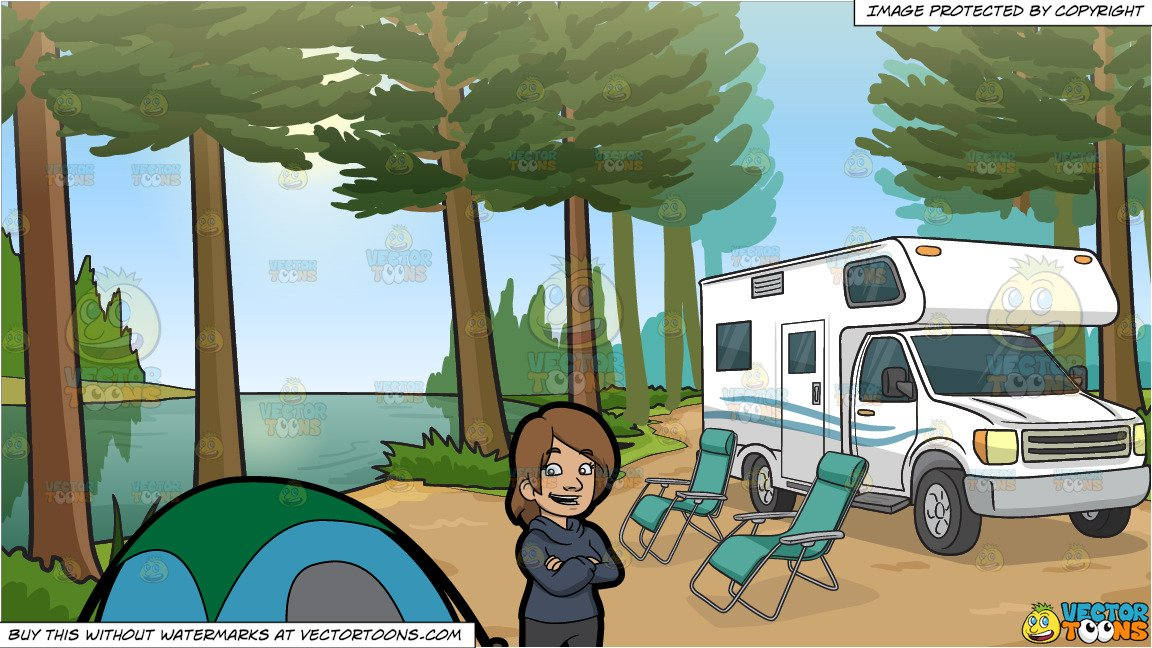 Campers being quiet clipart vector transparent library A Happy Female Camper and An Rv Parked By The River Background vector transparent library