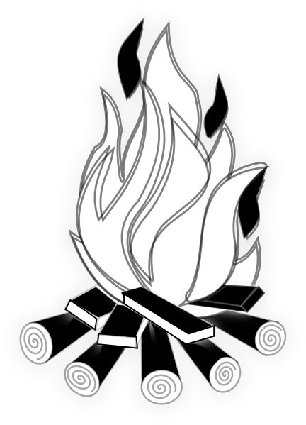 Campfire black and white clipart no background