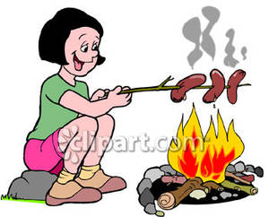 Wieners on a stick clipart clip art library download Girl Roasting Hot Dogs Over a Campfire Royalty Free Clipart Picture clip art library download