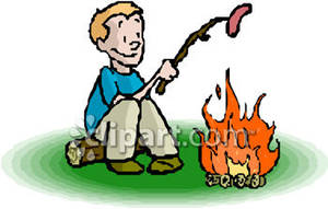 Roasting by campfire clipart banner free stock Boy Roasting a Hot Dog Over Campfire Royalty Free Clipart Picture banner free stock