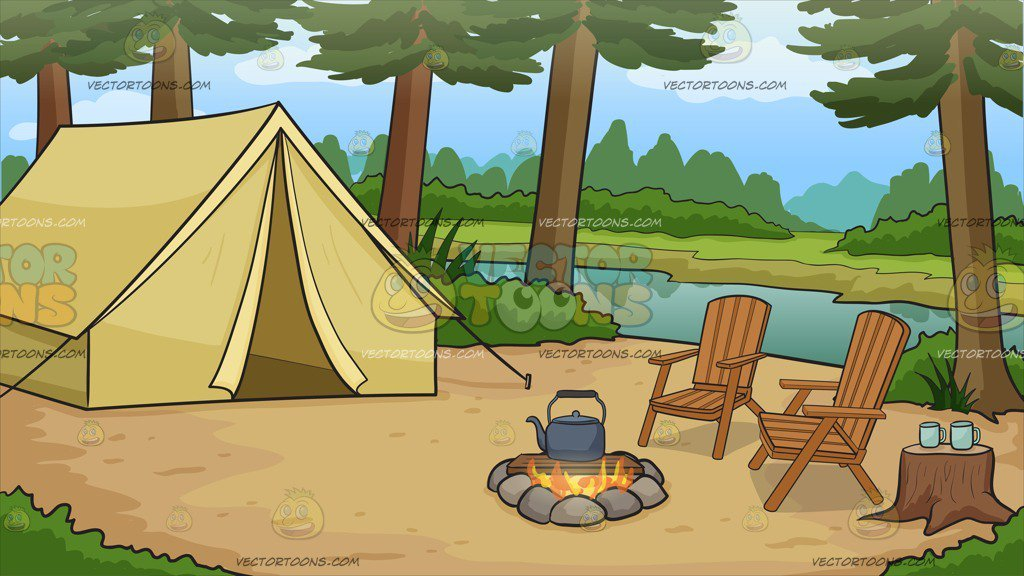 Camping background images clipart vector free download A Nice Campsite By The River Background vector free download