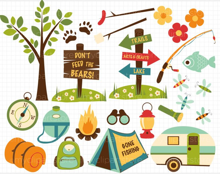Camping clipart images vector black and white download camper clipart | Camping Clipart Border Clip art camping with dad ... vector black and white download