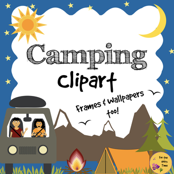 Camping frame clipart vector download Camping Clipart Black & White Images. Good Outdoor and Field trip Worksheet. vector download