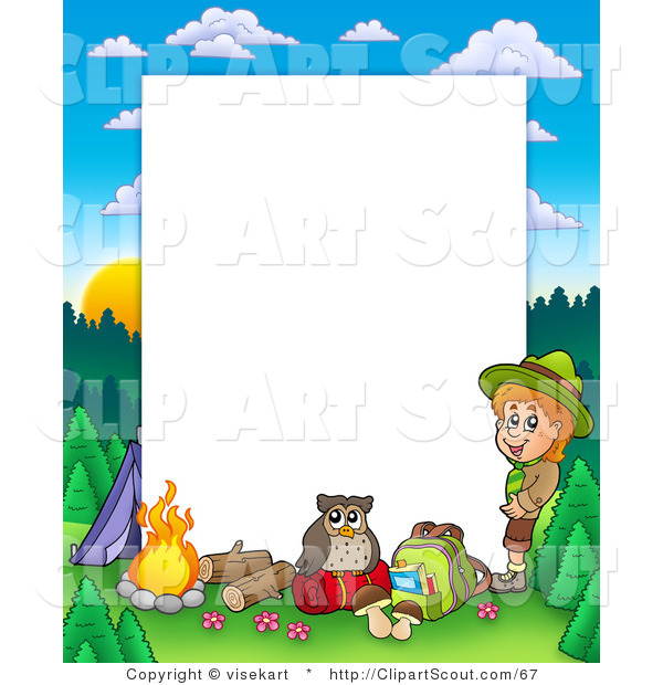 Camping frame clipart freeuse stock Clipart of a Boy Camping in the Wild Border Frame Around White Space ... freeuse stock