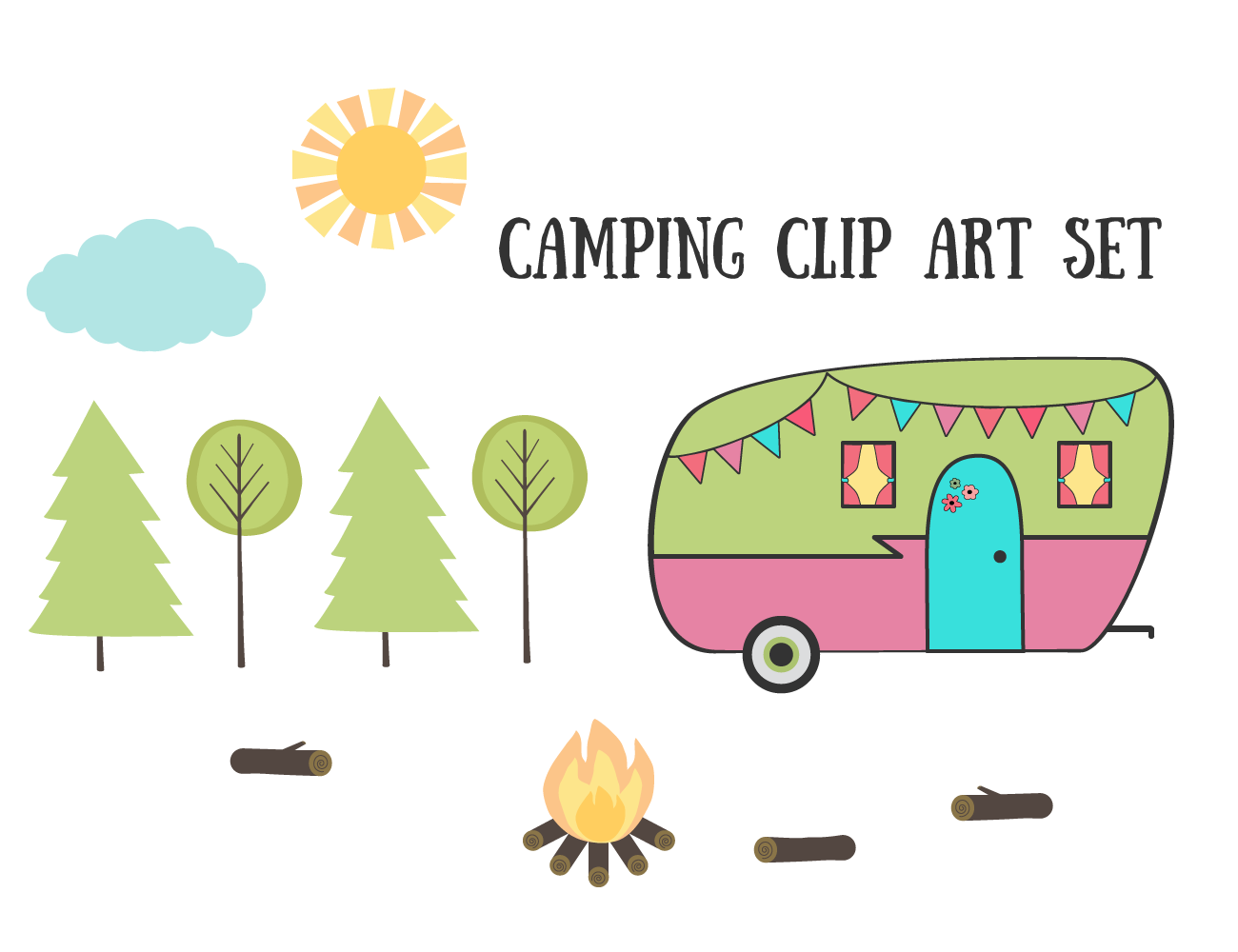 Camping images free clipart clipart black and white library Royalty Free Images – Camping Clip Art Set | Geek Out: Useables ... clipart black and white library