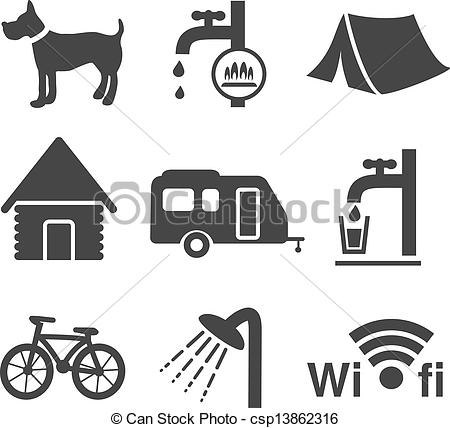 Camping logo clip art vector transparent stock Vector Clip Art of Vector camping icons - set 1 - illustration ... vector transparent stock