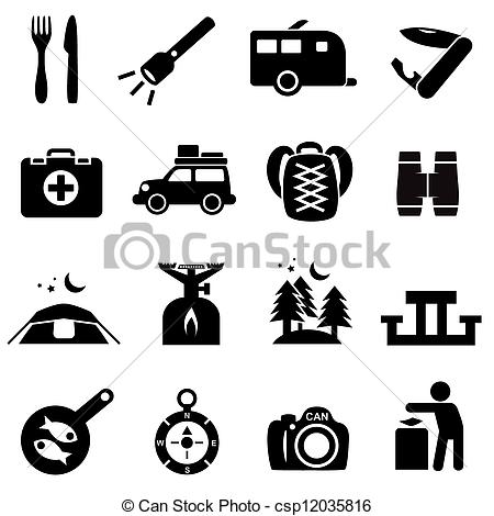 Camping logo clip art clip transparent Vector Clip Art of Camping icons black on white. Silhouettes of ... clip transparent