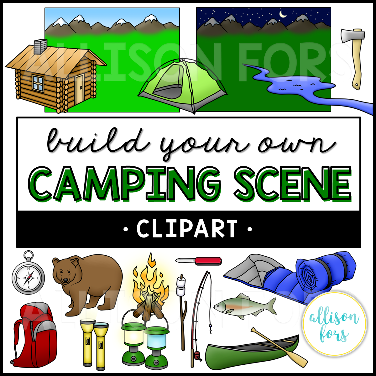 Carryover clipart black and white library Build Your Own: Camping Scene Clip Art black and white library