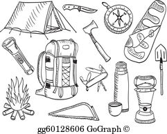 Camping stick people clipart black and white clip transparent library Summer Camp Clip Art - Royalty Free - GoGraph clip transparent library