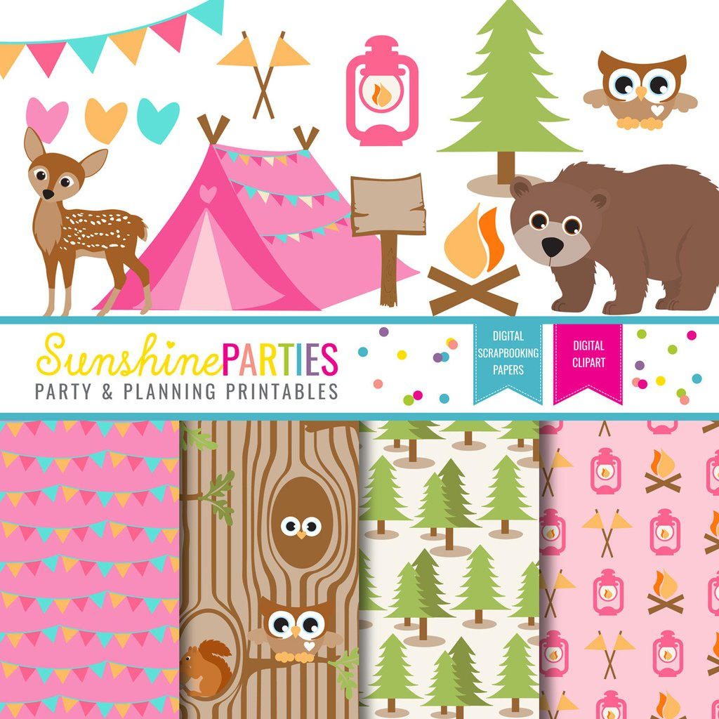 Campingcrafting clipart vector royalty free library Girls Camping Party Clipart and Digital Paper Set | Camp Out Glamping  Printables vector royalty free library