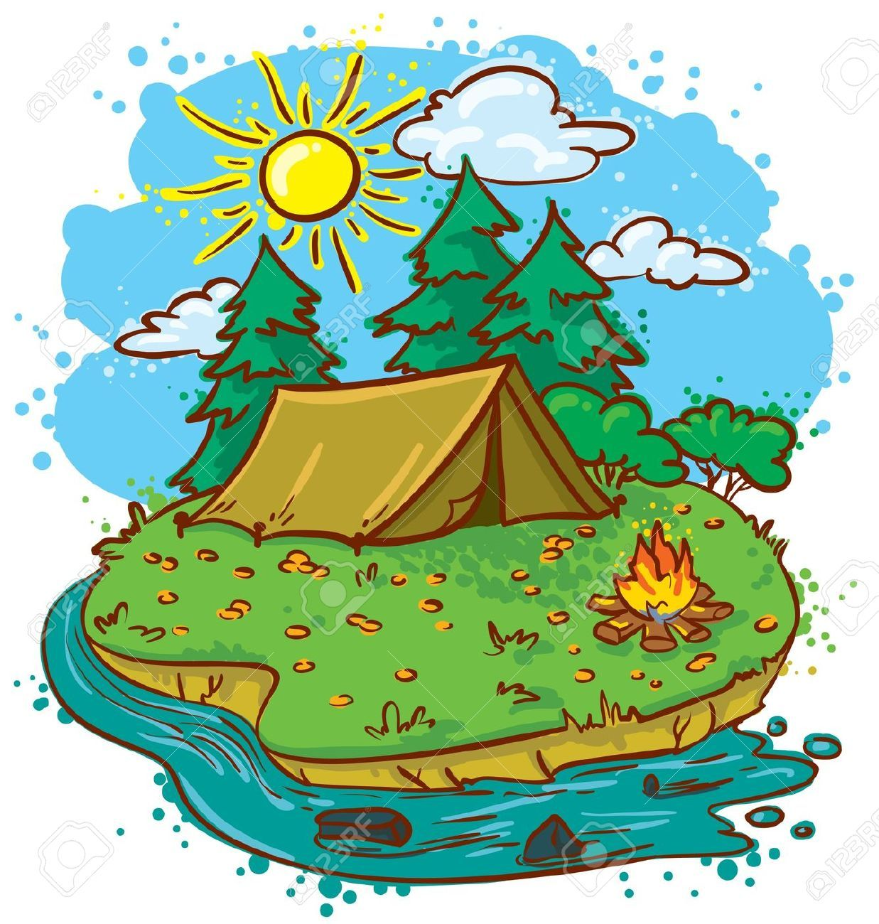 Campsite clipart picture free stock Images For > Camp Clipart | camping | Camping clipart, Free summer ... picture free stock