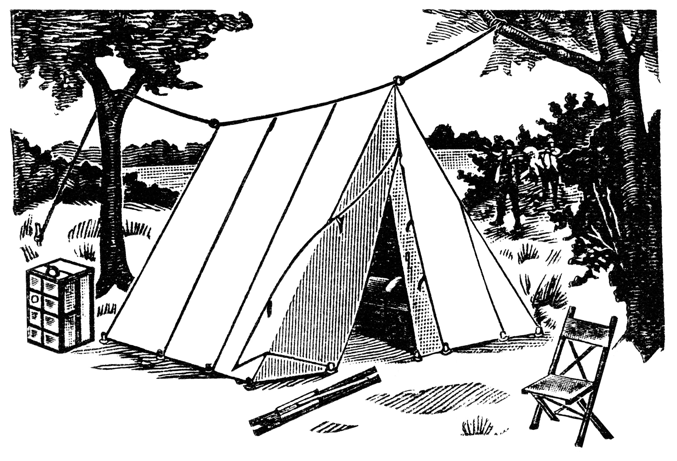 Campsite clipart black and white image royalty free library Camping clipart black and white 5 » Clipart Station image royalty free library