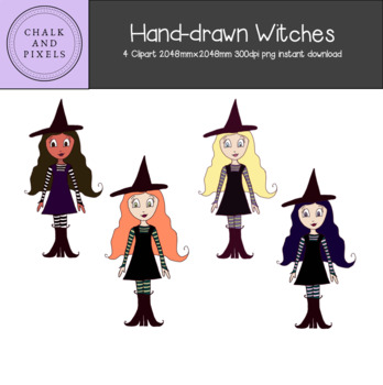 Can anyone use clipart svg library stock Cute Hand-drawn Halloween Witch clip art by Chalk and Pixels | TpT svg library stock
