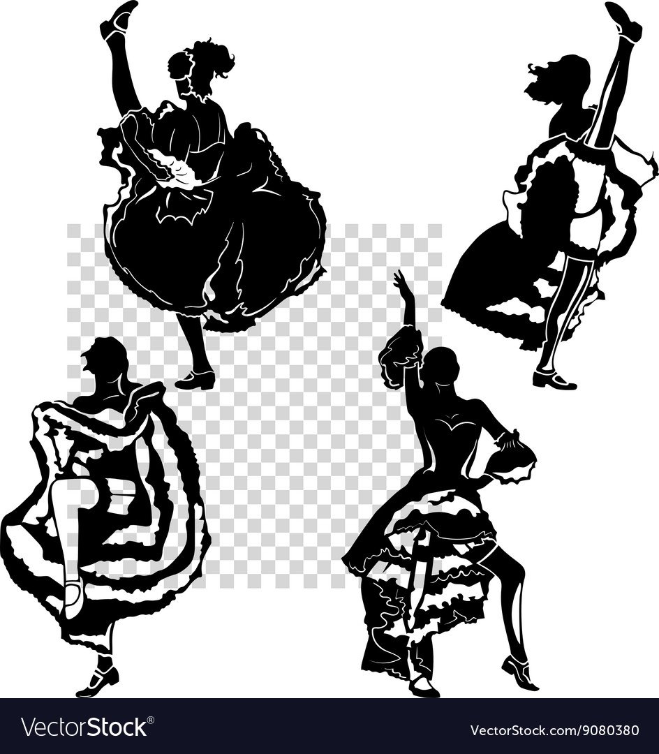 Can can dance clipart vector transparent stock Cancan dancers silhouettes set vector transparent stock