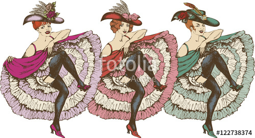 Can can dance clipart png black and white Vector illustration of a cancan dancer\