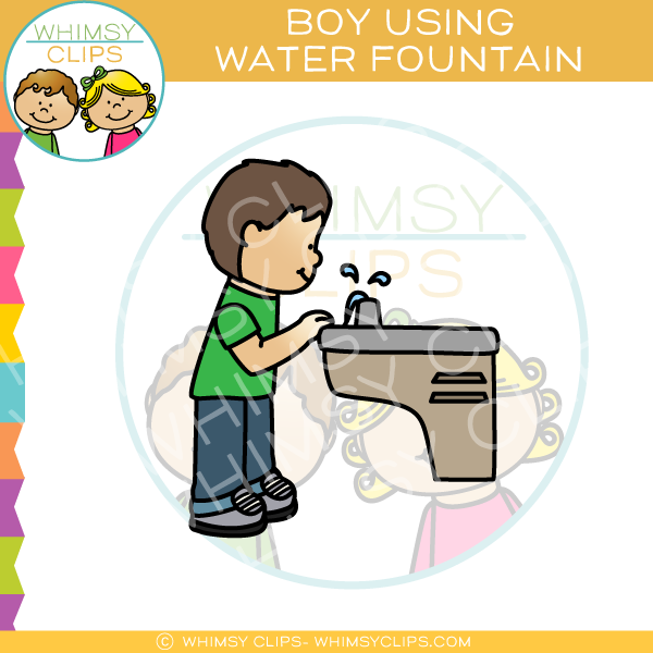 Water fountain clipart images vector free stock Boy Drinking from Water Fountain Clip Art vector free stock