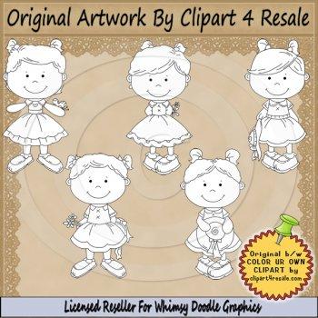 Reseller clipart svg royalty free RESELLER Spring Toddler Girls COLOR YOUR OWN by Clipart 4 Resale ... svg royalty free